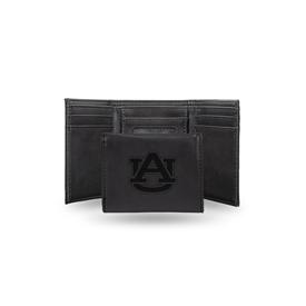 Auburn Laser Engraved Black Trifold Wallet