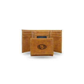 49Ers Brown Faux Leather Laser Engraved Trifold With Black Logo
