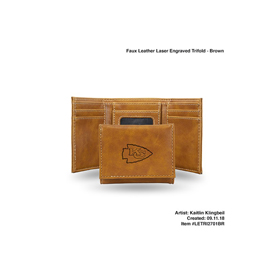 Chiefs Brown Faux Leather Laser Engraved Trifold With Black Logo