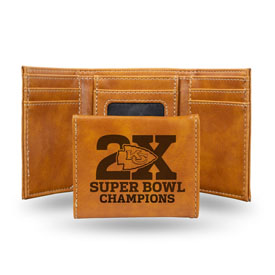 Chiefs 2 Time Super Bowl Champions Laser Engraved Trifold Wallet - Brown