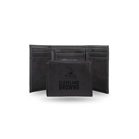 Browns Laser Engraved Black Trifold Wallet