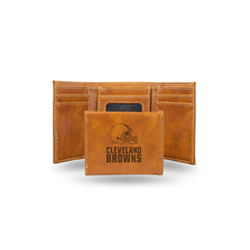 Browns Laser Engraved Brown Trifold Wallet