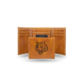 Bengals Laser Engraved Brown Trifold Wallet