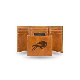 Bills Laser Engraved Brown Trifold Wallet