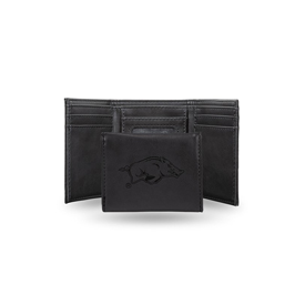 Arkansas University Laser Engraved Black Trifold Wallet