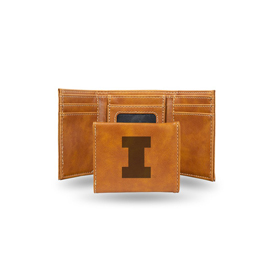 Illinois University Laser Engraved Brown Trifold Wallet