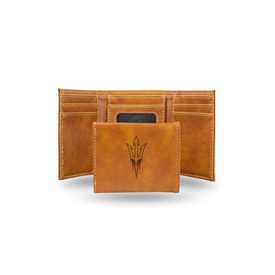 Arizona State Laser Engraved Brown Trifold Wallet