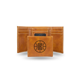 Clippers Laser Engraved Brown Trifold Wallet