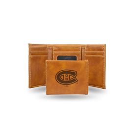 Canadiens  Laser Engraved Brown Trifold Wallet