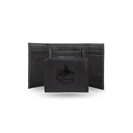 Canucks  Laser Engraved Black Trifold Wallet