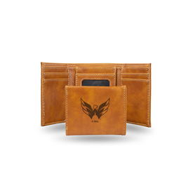 Capitals  Laser Engraved Brown Trifold Wallet