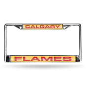 Flames Laser Chrome Frame - Yellow Background With Red Letters