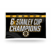 Bruins : 6 Time Stanley Cup Champs  Banner Flag