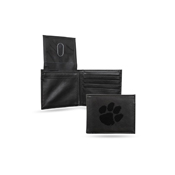Clemson Laser Engraved Black Billfold Wallet
