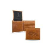 Broncos Laser Engraved Brown Billfold Wallet