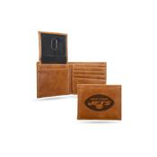 Jets Laser Engraved Brown Billfold Wallet