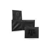 Texas A&M Laser Engraved Black Billfold Wallet