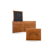Chargers Laser Engraved Brown Billfold Wallet