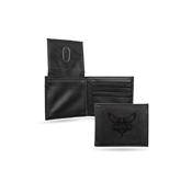 Hornets Laser Engraved Black Billfold Wallet