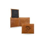 Penguins Laser Engraved Brown Billfold Wallet