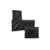 Red Wings  Laser Engraved Black Billfold Wallet