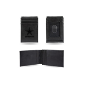 Cowboys Laser Engraved Black Front Pocket Wallet