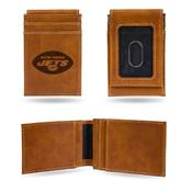Jets Laser Engraved Brown Front Pocket Wallet