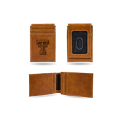 Texas Tech Laser Engraved Brown Front Pocket Wallet