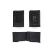 Arkansas University Laser Engraved Black Front Pocket Wallet