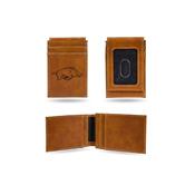 Arkansas University Laser Engraved Brown Front Pocket Wallet