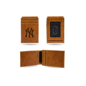 Yankees Laser Engraved Brown Front Pocket Wallet
