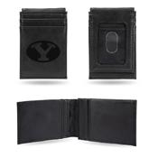 Byu Laser Engraved Black Front Pocket Wallet