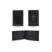 Padres Laser Engraved Front Pocket Wallet - Black