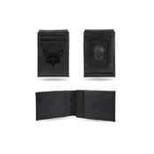 Hornets Laser Engraved Black Front Pocket Wallet