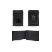 76Ers Laser Engraved Black Front Pocket Wallet