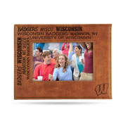 Wisconsin University Laser Engraved Brown Picture Frame (6.75