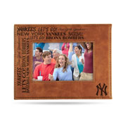 Yankees Laser Engraved Brown Picture Frame (6.75