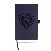 Bears Team Color Laser Engraved Notepad W/ Elastic Band - Navy