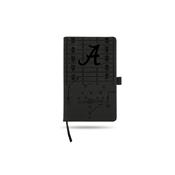 Alabama University Laser Engraved Black Notepad With Elastic Band