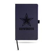 Cowboys Team Color Laser Engraved Notepad W/ Elastic Band - Navy