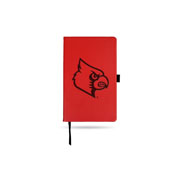 Louisville Team Color Laser Engraved Notepad W/ Elastic Band - Red