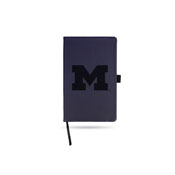 Michigan University Team Color Laser Engraved Notepad W/ Elastic Band - Navy
