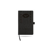 Jets Small Laser Engraved Black Notepad With Elastic Band