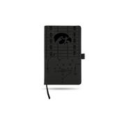 Iowa University Laser Engraved Black Notepad With Elastic Band
