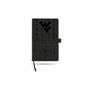West Virginia University Laser Engraved Black Notepad With Elastic Band