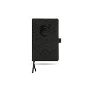 Orioles Laser Engraved Black Notepad With Elastic Band
