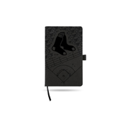 Red Sox Laser Engraved Black Notepad With Elastic Band