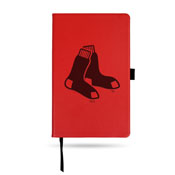 Red Sox Team Color Laser Engraved Notepad W/ Elastic Band - Red