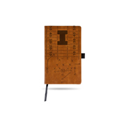 Illinois University Laser Engraved Brown Notepad With Elastic Band