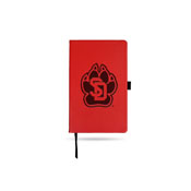 South Dakota University Team Color Laser Engraved Notepad W/ Elastic Band - Red